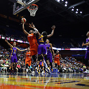 UNCASVILLE, CONNECTICUT- MAY 26: Kelsey Bone #3 of the Connecticut Sun drives to the basket for two points defended by Nneka Ogwumike #30 of the Los Angeles Sparks in action during the Los Angeles Sparks Vs Connecticut Sun, WNBA regular season game at Mohegan Sun Arena on May 26, 2016 in Uncasville, Connecticut. (Photo by Tim Clayton/Corbis via Getty Images)