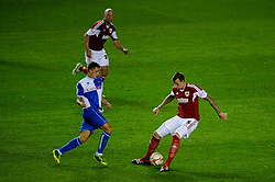 Bristol City Defender Aden Flint (ENG) is challenged by Bristol Rovers Midfielder Oliver Norburn (ENG) during the second half of the match - Photo mandatory by-line: Rogan Thomson/JMP - Tel: 07966 386802 - 04/09/2013 - SPORT - FOOTBALL - Ashton Gate, Bristol - Bristol City v Bristol Rovers - Johnstone's Paint Trophy - First Round - Bristol Derby