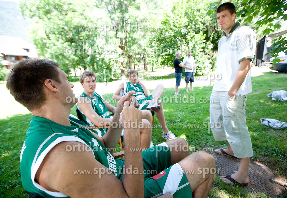 (From R) Director Goran Vojnovic talks to Miha Zupan, Zoran Dragic and Goran Jagodnik during filming of video for Eurobasket Lithuania 2011 of Slovenian National Basketball team during training camp in Kranjska Gora, on July 12, 2011, in Kranjska Gora, Slovenia. (Photo by Vid Ponikvar / Sportida)
