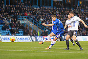 Gillingham midfielder Jake Hessenthaler shoots at goal during the Sky Bet League 1 match between Gillingham and Bury at the MEMS Priestfield Stadium, Gillingham, England on 14 November 2015. Photo by David Charbit.