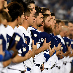 Los Angeles Dodgers line the third base line prior to a National League Divisional Series baseball game against the Arizona Diamondbacks at Dodger Stadium on Friday, Oct. 06, 2017 in Los Angeles. (Photo by Keith Birmingham, Pasadena Star-News/SCNG)