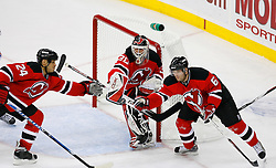 April 9, 2008; Newark, NJ, USA;  New Jersey Devils goalie Martin Brodeur (30) makes a blocker save during the second period of game 1 of the Eastern Conference Quarterfinal playoffs at the Prudential Center in Newark, NJ.