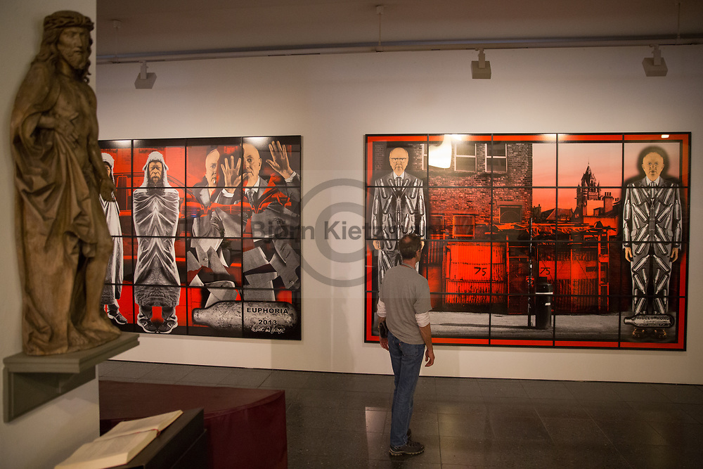 Berlin, Germany - 19.05.2017<br /> <br /> &quot;The Scapegoating Picture&rdquo;-exhibition by artists Gilbert &amp; George at the St. Matthaeus church in Berlin.<br /> <br /> &quot;The Scapegoating Picture&quot;-Ausstellung der Londoner Kuenstler Gilbert &amp; George in der St. Matthaeus Kirche in Berlin.<br /> <br /> Photo: Bjoern Kietzmann