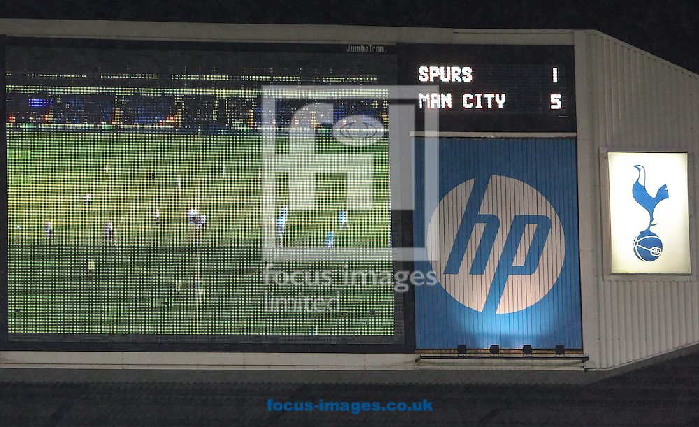 Picture by John Rainford/Focus Images Ltd +44 7506 538356<br /> 29/01/2014<br /> The scoreboard at White Hart Lane, London, showing the 1-5 scoreline.
