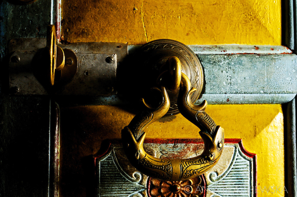 Sri Lanka. Ornamental door knocker in Dowa Tempe.