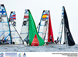 Aarhus, Denmark is hosting the 2018 Hempel Sailing World Championships from 30 July to 12 August 2018. More than 1,400 sailors from 85 nations are racing across ten Olympic sailing disciplines as well as Men's and Women's Kiteboarding. <br /> 40% of Tokyo 2020 Olympic Sailing Competition places will be awarded in Aarhus as well as 12 World Championship medals. ©PEDRO MARTINEZ/SAILING ENERGY/AARHUS 2018<br /> 06 August, 2018.