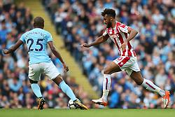 Eric Maxim Choupo Moting of Stoke City takes on Fernandinho of Manchester City - Mandatory by-line: Matt McNulty/JMP - 14/10/2017 - FOOTBALL - Etihad Stadium - Manchester, England - Manchester City v Stoke City - Premier League