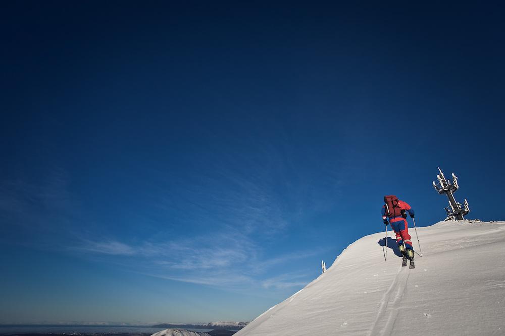 Stefán Jökull Jakobsson skiing in Bláfjöll mountains, Iceland.