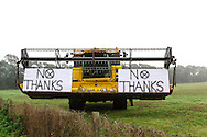 No Thanks Banners On Farm Machinery On Polling Day In Scottish Independence Referendum Near Upper Largo, Fife, Scotland