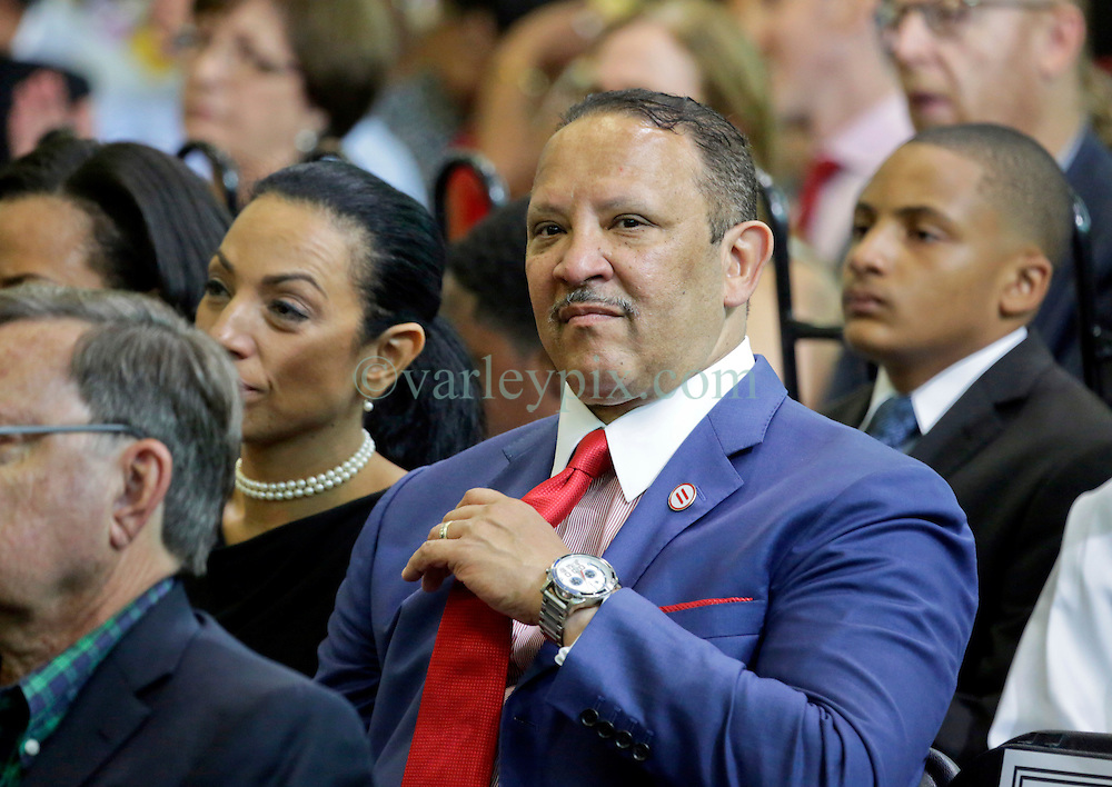 27 August 2015. Andrew P. Sanchez &amp; Copelin-Byrd Multi Service Center, Lower 9th Ward, New orleans, Louisiana.<br /> Marc Morial, president of the National Urban League with his wife Michelle Miller awaiting remarks from President Barack Obama. <br /> Photo credit&copy;; Charlie Varley/varleypix.com.
