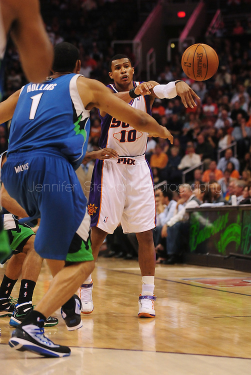 Mar. 16 2010; Phoenix, AZ, USA; Phoenix Suns guard Leandro Barbosa (10) makes a pass in the second half at the US Airways Center.  The Suns defeat the Timberwolves 152-114. Mandatory Credit: Jennifer Stewart-US PRESSWIRE.