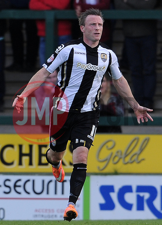 Garry Thompson of Notts County celebrates his sides goal - Photo mandatory by-line: Harry Trump/JMP - Mobile: 07966 386802 - 11/04/15 - SPORT - FOOTBALL - Sky Bet League One - Yeovil Town v Notts County - Huish Park, Yeovil, England.