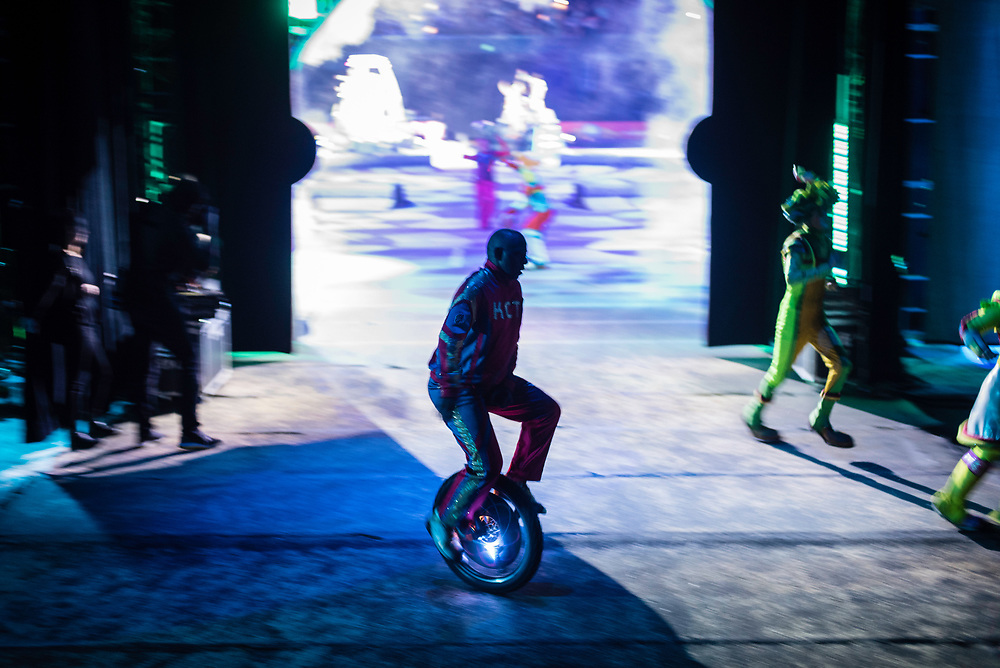 BALTIMORE, MD -- 4/28/17 -- Mark Birthwright of the King Charles Troupe returns backstage after performing. The King Charles Troupe is the first African-American circus act in Ringling Bros. history, having debuted in 1969. The unicycle act plays basketball and even performs on ice during the show. Ringling Bros, the self-proclaimed Greatest Show on Earth, is in the final leg of a 146 year run. The final performances will be held in May. Out of This World, one of two circus units, recently had performances in Baltimore, led by Jonathan Lee Iverson, the first African-American ringmaster in the show's history…by André Chung #_AC28349