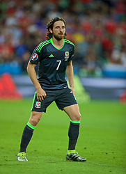 LYON, FRANCE - Wednesday, July 6, 2016: Wales' Joe Allen in action against Portugal during the UEFA Euro 2016 Championship Semi-Final match at the Stade de Lyon. (Pic by David Rawcliffe/Propaganda)