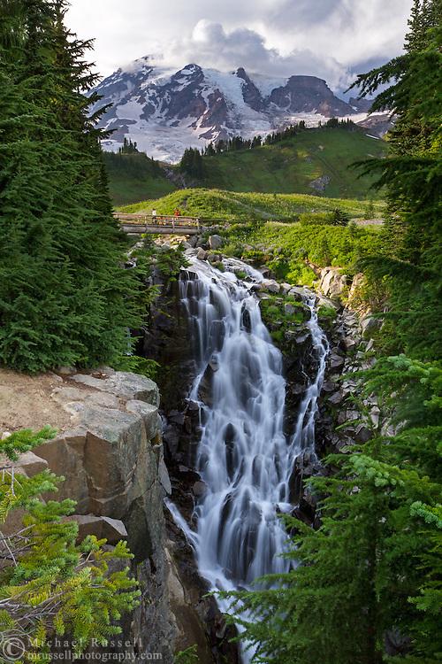Myrtle Falls and Mount Rainier in Mount Rainier National Park, Washington State, USA.