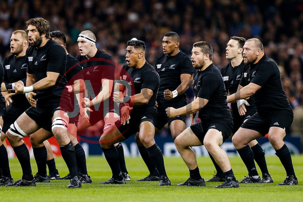 New Zealand Winger Julian Savea performs the Haka - Mandatory byline: Rogan Thomson/JMP - 07966 386802 - 02/10/2015 - RUGBY UNION - Millennium Stadium - Cardiff, Wales - New Zealand v Georgia - Rugby World Cup 2015 Pool C.