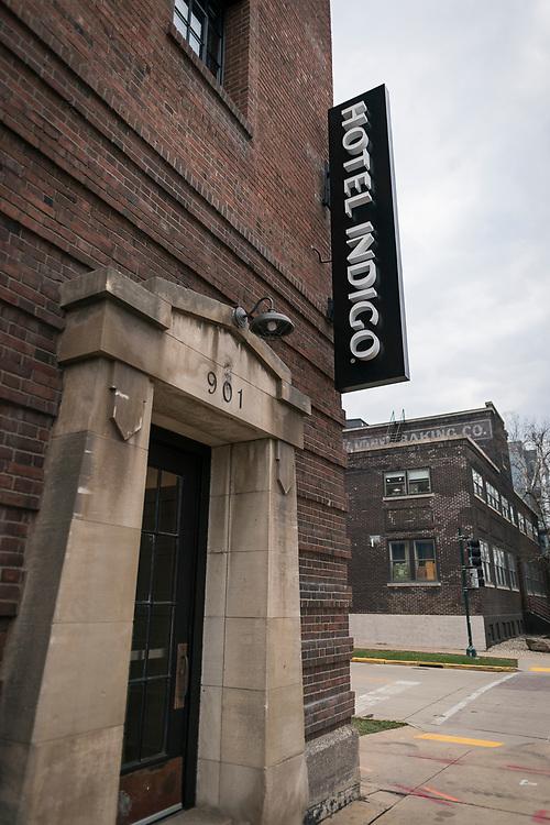The historic entrance to the Mautz Paint factory on 901 East Washington, now Hotel Indigo, in Madison, WI on Wednesday, April 17, 2019.