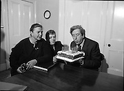 Garret Fitzgerald Birthday.1982.09.02.1982..02.09.1982..9th February 1982.Garret Fitzgerald celebrates his 56th birthday..Image of Garret ,his wife Joan and son, Mark as they take time to clebrate his birthday at their Palmerstown home  .It takes a lot of puff to blow out the candles.  .