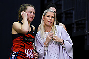 Caitlin Dowden of the Tactix talks with Marianne Delaney-Hoshek Coach of the Tactix during the ANZ Netball Premiership match, Tactix v Pulse, Horncastle Arena, Christchurch, New Zealand, 15th May 2017.Copyright photo: John Davidson / www.photosport.nz