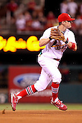 29 June 2010: St. Louis Cardinals shortstop Brendan Ryan (13) prepares to throw to first base during a game against the Arizona Diamondbacks  at Busch Stadium in St. Louis, Missouri. The Cardinals would win 8-0 over Arizona....