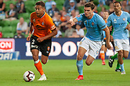 Brisbane Roar forward Dane Ingham (2) in action at the Hyundai A-League Round 13 soccer match between Melbourne City FC and Brisbane Roar FC at AAMI Park in VIC, Australia 11th January 2019.