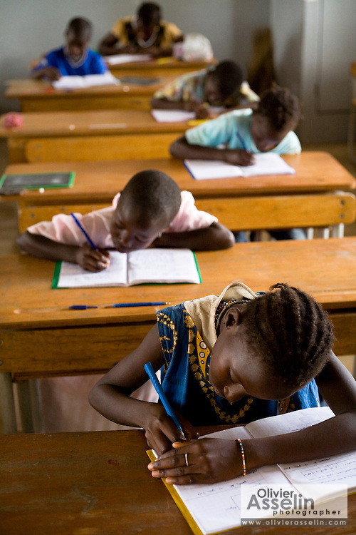 Children write exams at the Essaout primary school in the village of Essaout, Senegal, on Thursday June 14, 2007...