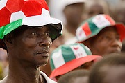 Convention People's Party (CPP) supporters listen to a speech by candidate Paa Kwesi Nduom during a rally in Accra, Ghana on Sunday September 21, 2008.