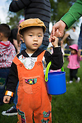 Will Hou, 2, collects dyed eggs and candy with his mother during the Easter Egg Hunt at Christ Community Church in Milpitas, California, on March 30, 2013. (Stan Olszewski/SOSKIphoto)
