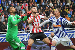 April 28, 2018 - San Sebastian, Spain - Miguel Angel Moya and Zurutuza of Real Sociedad duels for the ball with Nunez of Athletic Club  during the Spanish league football match between Real Sociedad and AtHletic Club Bilbao at the Anoeta Stadium on 28 April 2018 in San Sebastian, Spain  (Credit Image: © Jose Ignacio Unanue/NurPhoto via ZUMA Press)