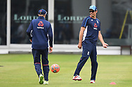 Alastair Cook and Joe Root of England pictured during training at Lord's, London ahead of the test match series against Pakistan.<br /> Picture by Simon Dael/Focus Images Ltd 07866 555979<br /> 21/05/2018