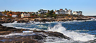 A Windy And Cool Autumn Afternoon At Cape Neddick, Maine, The Lighthouse Is On A Small Rocky Island 180 Degrees Around, USA