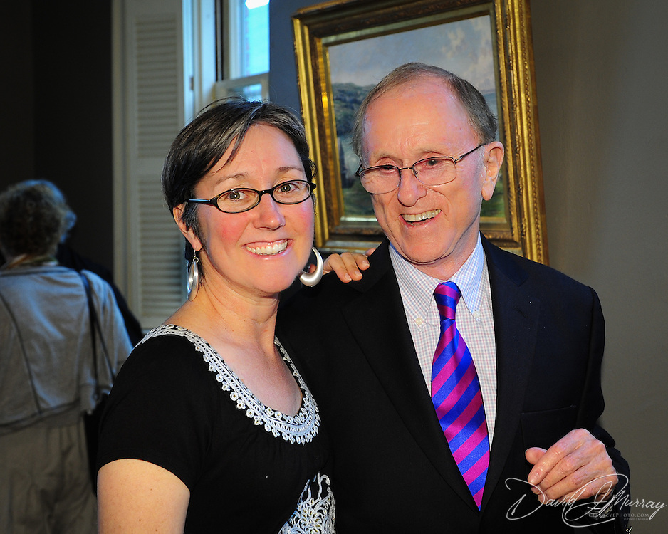Artist John Stobart and Maryellen Burke during a reception for the opening of an exhibit of 6 new paintings by him at The Discover Center in Portsmouth, NH. June, 2012
