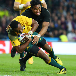 LONDON, ENGLAND - OCTOBER 31: Julian Savea of New Zealand tackling Tevita Kuridrani of Australia during the Rugby World Cup Final match between New Zealand vs Australia Final, Twickenham, London on October 31, 2015 in London, England. (Photo by Steve Haag)