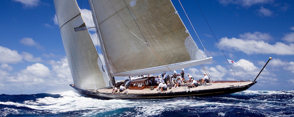 Hanuman sailing in the 2010 St. Barth's Bucket superyacht regatta, race 1.