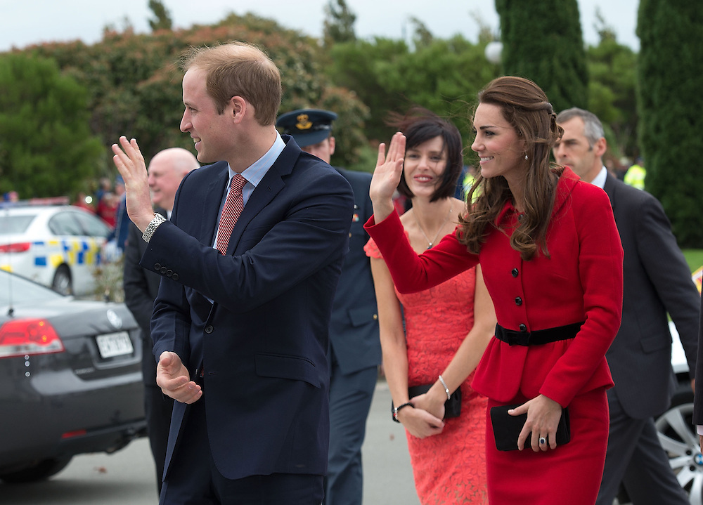 Britain's Prince William and Catherine, Duchess of Cambridge at the Wigram Airbase Museum, Christchurch, New Zealand, Monday, April 14, 2014. Credit:SNPA / AFP, Marty Melville  POOL