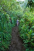 A woman hiking the Na Pali coast of Kauai Hawaii on the Kalalau Trail.