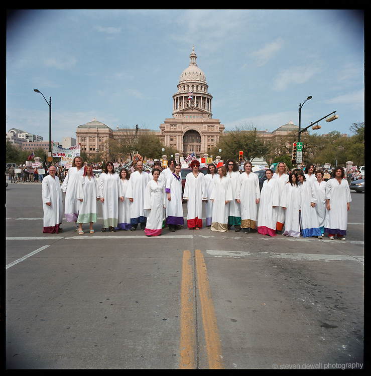 The Polyphonic Spree march on Austin, TX, May 2003.