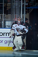 KELOWNA, CANADA - MARCH 18:  Trent Miner #31 of the Vancouver Giants enters the ice against the Kelowna Rockets on March 1, 2018 at Prospera Place in Kelowna, British Columbia, Canada.  (Photo by Marissa Baecker/Shoot the Breeze)  *** Local Caption ***