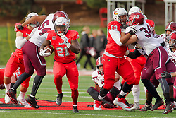 NORMAL, IL - October 13: Markel Smith exploits a lane up the middle during a college football game between the ISU (Illinois State University) Redbirds and the Southern Illinois Salukis on October 13 2018 at Hancock Stadium in Normal, IL. (Photo by Alan Look)