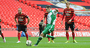 Liam King firing from the spot during the FA Carlsberg Trophy Final match between North Ferriby United and Wrexham FC at Eon Visual Media Stadium, North Ferriby, United Kingdom on 29 March 2015. Photo by Michael Hulf.