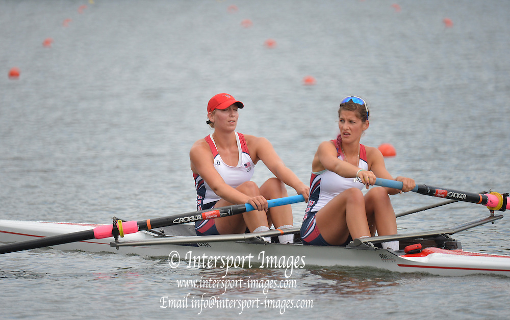 Trackai. LITHUANIA. B Final. USA BW2-  Bow. Anna KAMINSKI and Rosemary POPA  in the closing stages of the women's pair B Final on Lake Galve.  2012 FISA U23 World Rowing Championships.  ..12:02:32  Saturday  14/07/2012  [Mandatory Credit: Peter Spurrier/Intersport Images]..Rowing. 2012. U23.