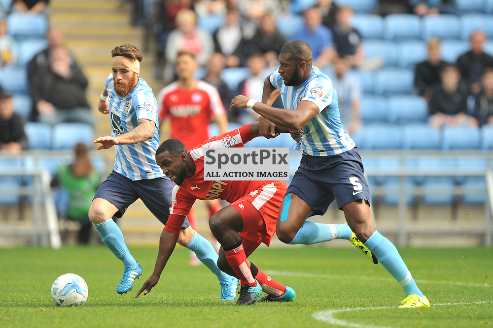 Coventrys Reda Johnson battles with Chesterfields Sylvain Ebanks-Blake, Coventry City v Chesterfield, Football League One, Ricoh Arena Coventry Saturday 19th September 2015