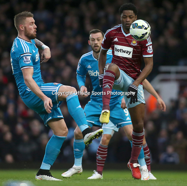 21 March 2015 - Barclays Premier League - West Ham United v Sunderland - Alex Song of West Ham brings the ball under control.<br /> <br /> Photo: Ryan Smyth/Offside