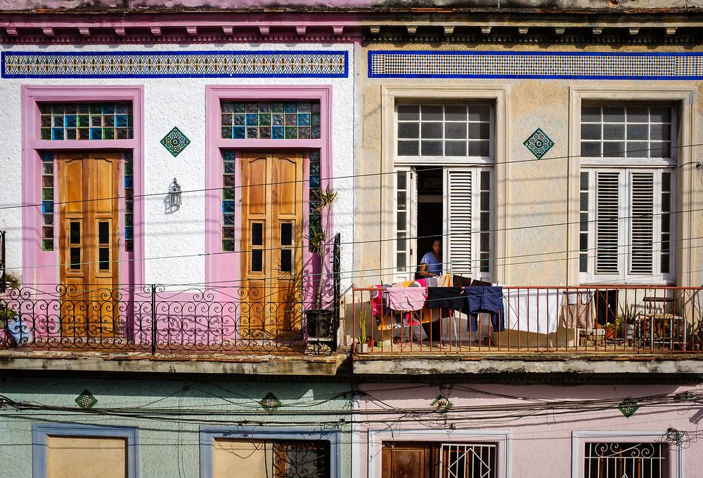 HAVANA, CUBA - CIRCA MAY 2017:  Balconies in Centro Habana, a popular neighborhood in Havana.