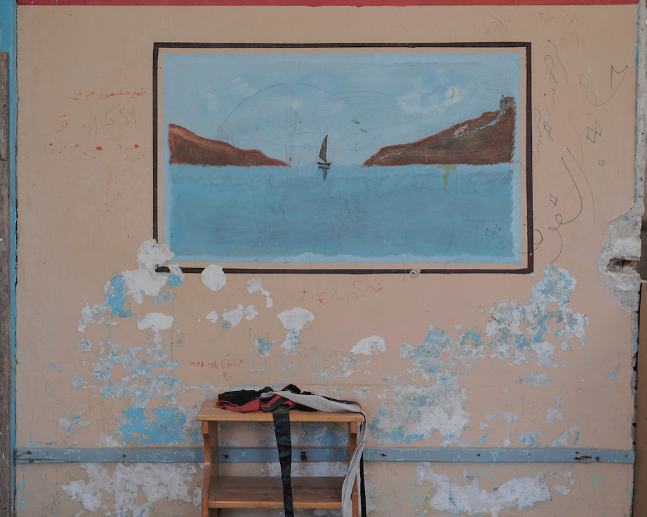 A painting on a wall in the closed down refugee camp at the Port of Lakki. <br /> <br /> The camp was opened by volunteers in the summer of 2015 and later that year UNHCR and MSF expanded it and provided additional tents, toilets and other facilities. The camp was closed soon after the opening of a 'Hotspot' (EU-run migrant's reception centres) camp in Lepida in February 2016