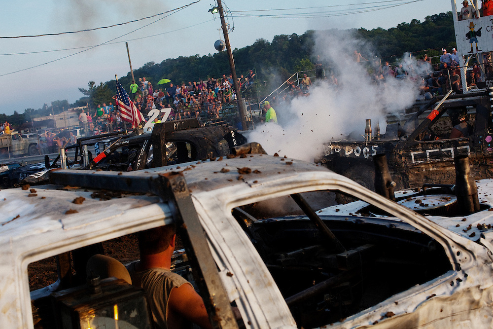 A demolition derby held at the Athens County Fairground in Athens, Ohio on June 23, 2012.