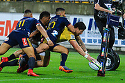 Ben Lam  dives to score during the super rugby union  game between Hurricanes  and Highlanders, played at Westpac Stadium, Wellington, New Zealand on 24 March 2018.  Hurricanes won 29-12.