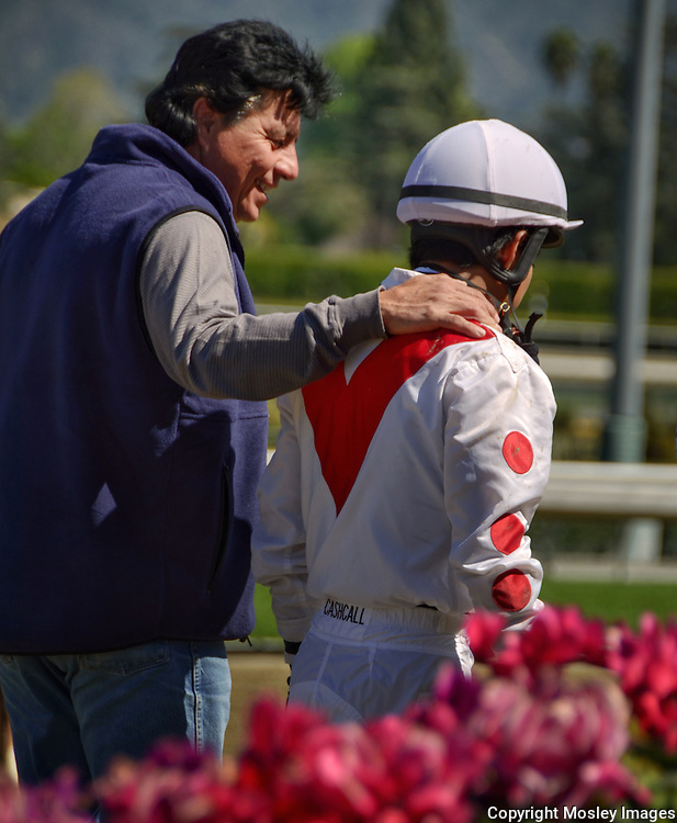 Leandro Mora with Mario Gutierrez at Santa Anita Race Track. Photo by premier Lincoln Nebraska sports photographer Barry A Mosley.