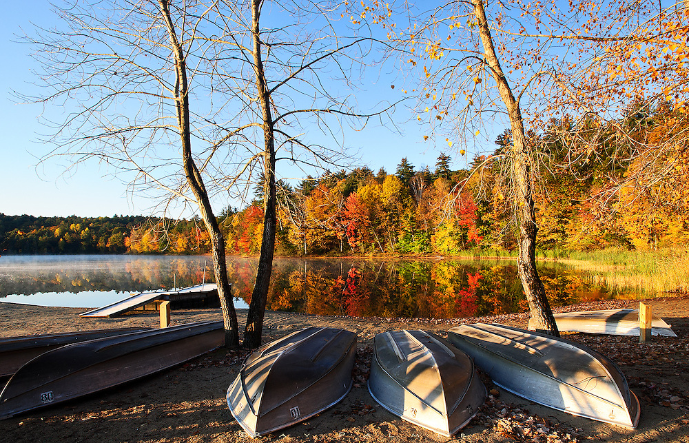 Moreau Lake, NY.<br /> Fishing boats were arrayed on the public beach at Moreau Lake on this quiet autumn morning.