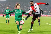 ROTTERDAM - Feyenoord - FC Groningen , Voetbal , Eredivisie , Seizoen 2016/2017 , Feijenoord stadion de Kuip , 11-02-2017 ,  Feyenoord speler Eljero Elia (r) in duel met FC Groningen speler Desevio Payne (l)